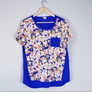 J Crew Printed Pocket T-shirt Blouse Silky Floral